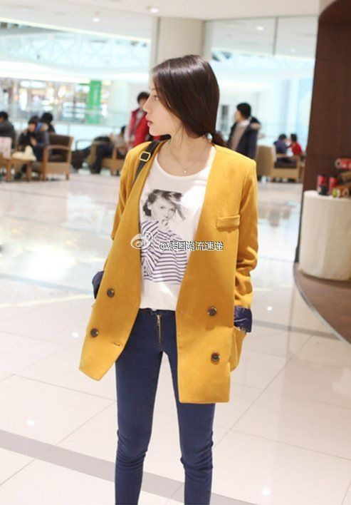 point: yellow coat & jeans