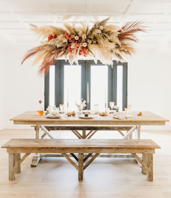 hanging pampas grass installation / fall party