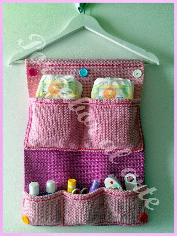 Organizador De Baño En Crochet:organizador a ganchillo En este caso lo uso para las cosas de aseo de