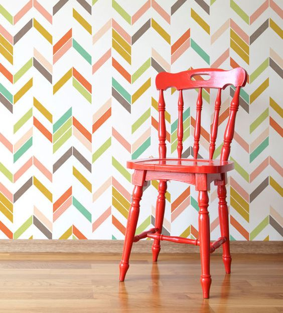 Large Graphic Herringbone Shuffle Allover Modern Wall Stencil for Easy Stenciled DIY Decor: