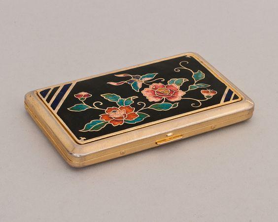 Vintage Glass Enamel Floral Cigarette Case