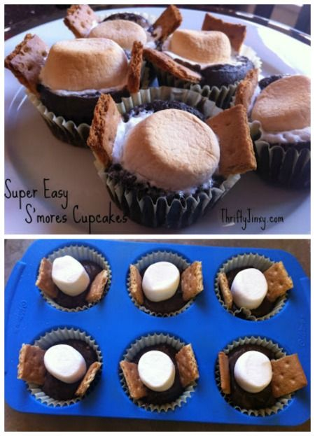 Super Easy S'mores Cupcakes Recipe - No Frosting Needed! - Thrifty Jinxy