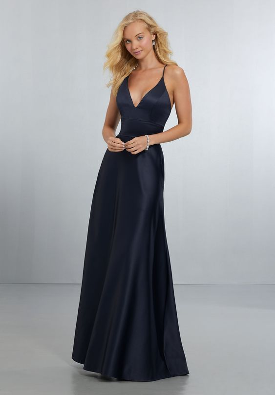 Bridesmaid dresses by Mori Lee style 21573 Long dress, Classic, V-Neck Satin A-Line Gown with Modern Strappy Back Detail and Zipper Back.