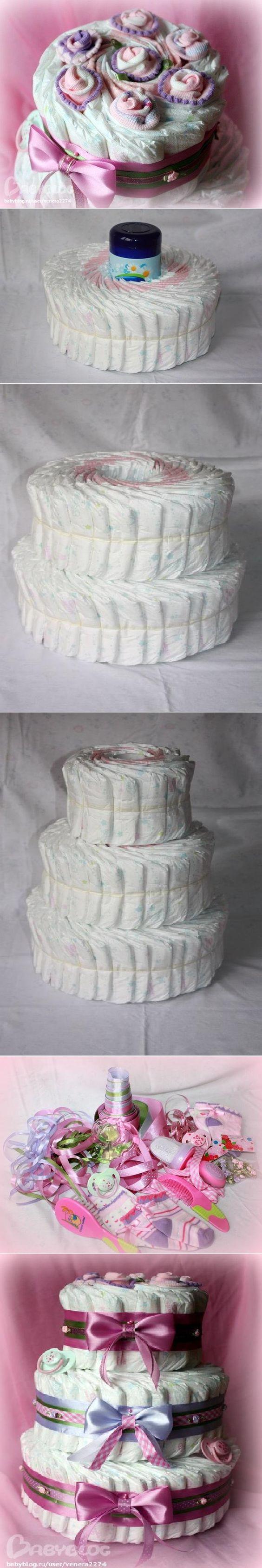как сделать торт из подгузников