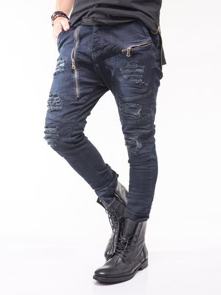 D&H Men Skinny Fit Low Crotch Zipper Ripped Destroyed Jeans - Blue