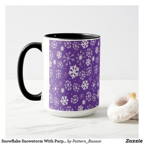 Possible Snowstorm On Christmas 2020 Snowflake Snowstorm With Purple Background Mug | Zazzle.in