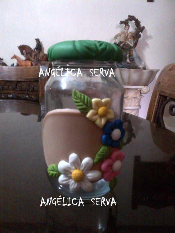 Frasco decorado con porcelana fr a para la cocina - Frascos de vidrio decorados ...