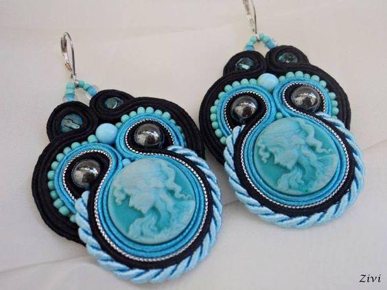 Pendientes de gancho - pendientes negros de soutache con camafeo - hecho a mano por Zivile-1 en DaWanda
