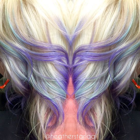 platinum to lavender ombre with pastel blue highlights
