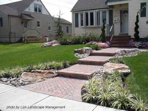 Front yards brick walkway and landscapes on pinterest for Amazing front yard landscaping