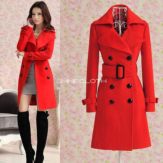 SHINECLOTH Red Cashmere Wool Coat Dress Long Double Breasted