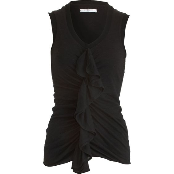 Givenchy Ruffle Panel Top in Black | Lyst