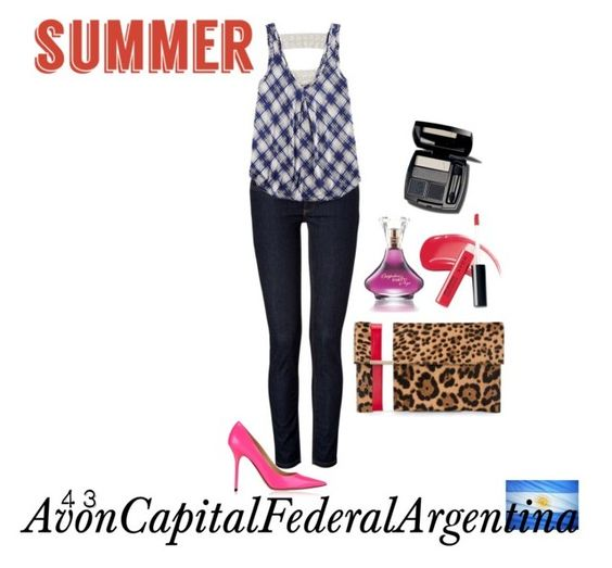 """Summer Look"" by avon-capital-federal-argentina ❤ liked on Polyvore featuring Jimmy Choo, dVb Victoria Beckham, Eyeshadow, Tomasini and Avon"