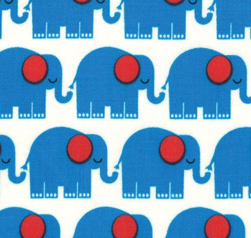 Elephants in Blue, Bungle Jungle by Tim and Beck for Moda Fabrics, One Yard, 1 Yard
