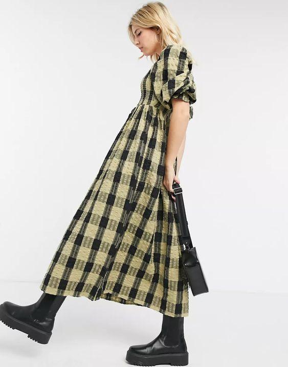 ASOS DESIGN shirred maxi dress in black and green check