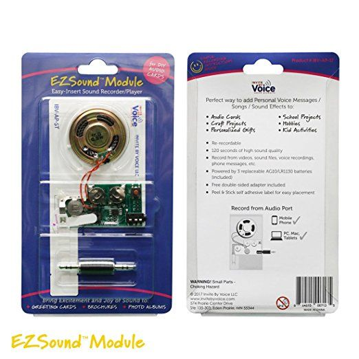 Ezsound Module For Diy Audio Cards Easy To Record 120 Seconds Recording High Sound Quality Musical Greeting Cards Greeting Cards Diy Cheap Gift Cards