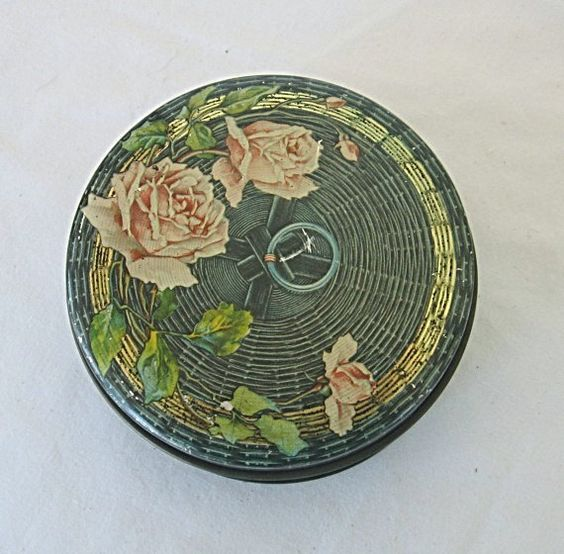 Vintage 1920's Tin Deco Lithographed Sewing Basket w Pink Roses Design Candy or Notions Tin via Etsy.