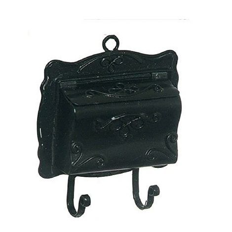 Black Traditional Wall Mailbox www.teeliesfairygarden.com Give your fairy land a Victorian look with this black traditional wall mailbox. Any fairy will be blown away when they see this! #fairymailbox
