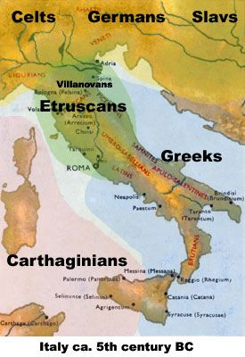 Detail of Map of Italy 5th century BC: Etruscan territory and sphere of influence.