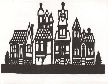 houses papercut by weasel