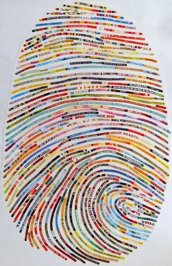Thumbprint portrait. Scraps of paper all about you. could be selvages?