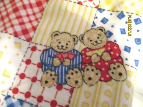 Bright Patchwork Bears Flannel Fabric red white blue yellow baby ... : nursery quilt fabric - Adamdwight.com