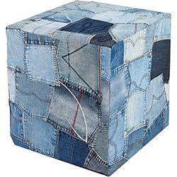 Puff Quadrado Route 66 Jeans Azul - Inter Link Submarino: