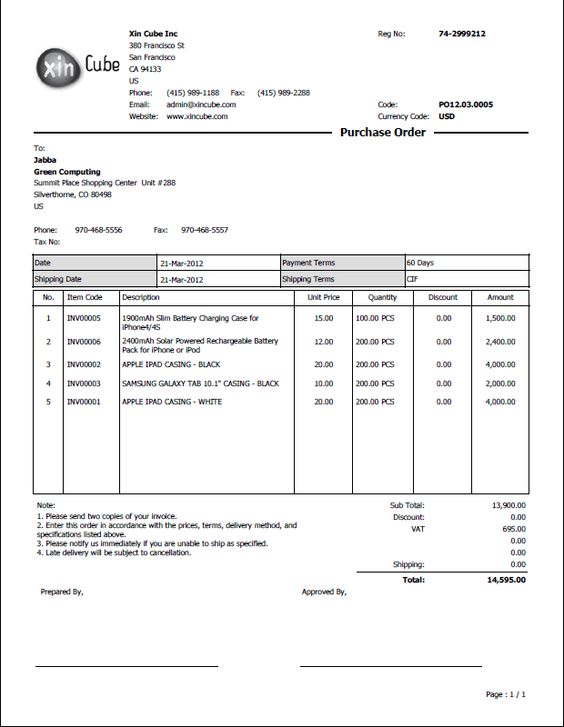 Purchase order sample Business Doc – Purchase Order Template Doc