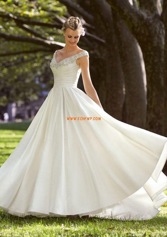Výstřih do V Nášivky Přírodní Svatební šaty 2014