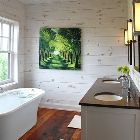 Horizontal whitewashed or weather wood panel great for for Bathroom ideas with wooden panels