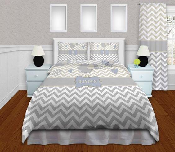 Elephant Comforters, Gray and White Chevron Comforter, Tan Comforters, Comforters for Boys and Girls, King, Queen/Full, Twin, Daybed #201 by EloquentInnovations on Etsy