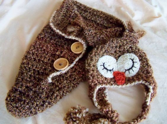 Crochet Owl Baby Bunting Pattern : New Year SALE Baby Hats - Newborn - Baby Owl Hat and ...