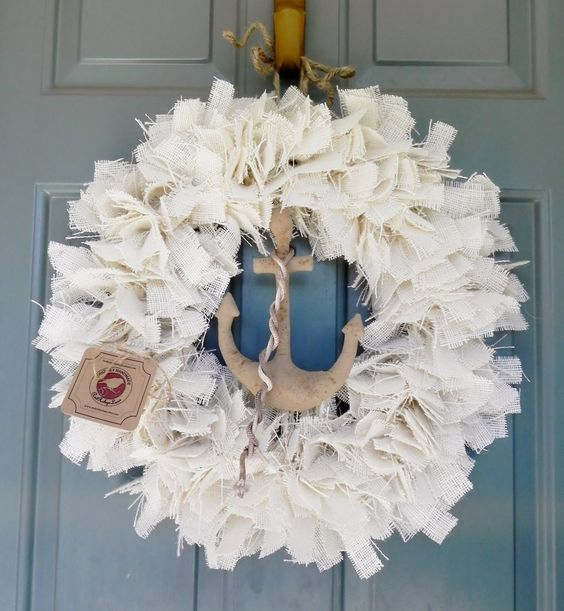 White Burlap Wreath with Primitive Anchor  - 22 inch - Other sizes available - Nautical Ocean Wreath. $52.50, via Etsy.