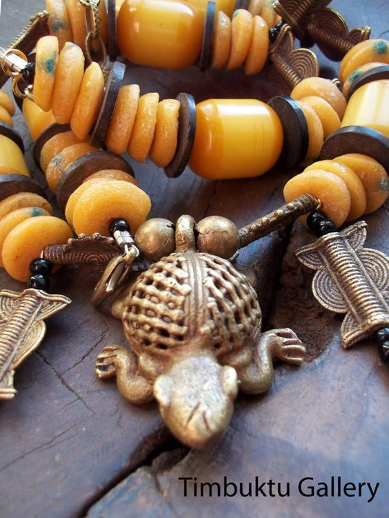 Bronze TURTLE tassel pendant necklace. ASHANTI by Timbuktugallery