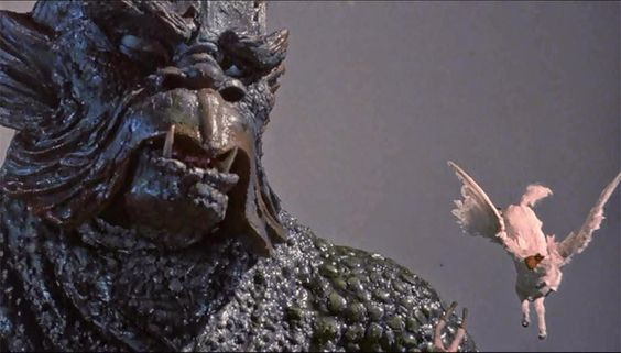 The Kraken sends Perseus, Pegasus and the head of Medusa tumbling into the sea in Clash of the Titans (1981).