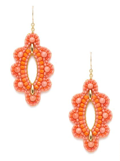 Coral Scalloped Marquise Earrings by Miguel Ases at Gilt
