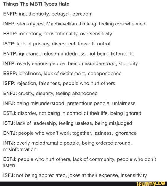 Things the MBTI Types Hate | MBTI |ENFP INFP ESTP ISTP ENTP INTP ESFP ISFP ENFJ INFJ ESTJ ISTJ ENTJ INTJ ESFJ ISFJ