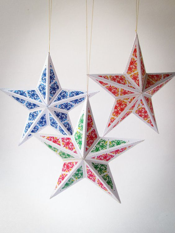Crafts paper and ornaments on pinterest for 3d christmas decoration templates