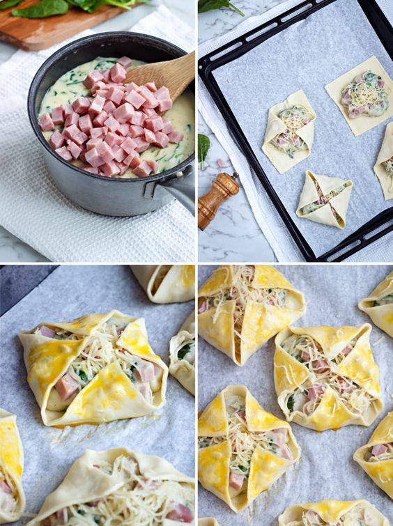 Feuilleté au jambon et épinard...sauce béchamel - Recettes - Recettes simples et géniales! - Ma Fourchette - Délicieuses recettes de cuisine, astuces culinaires et plus encore!