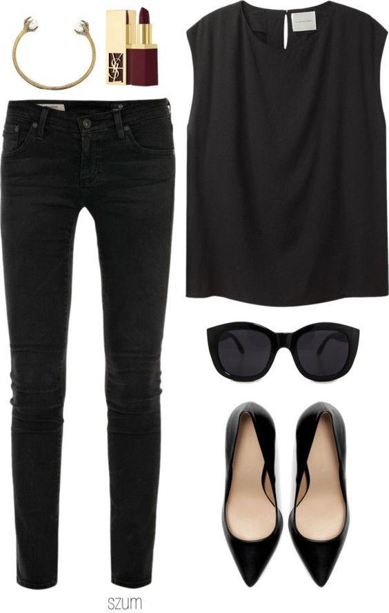 Look todo preto: jeans + blusa + sapatilha bico fino