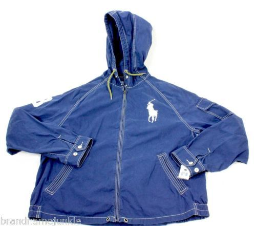 New Polo Ralph Lauren Mens \u0026quot;Big Pony\u0026quot; Zip Windbreaker Hoodie Jacket Blue XXL NWT