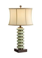 60200 Discs Green Porcelain Lamp by Wildwood Lamps Lighting - 110% Price Match - Traditional, Porcelain, Green, Table Lamp, Silk Shade. Free Shipping, No Tax.
