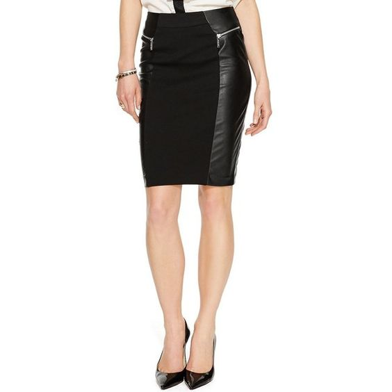 Michael Michael Kors Faux-Leather Ponte Combo Pencil Skirt ($68) ❤ liked on Polyvore featuring skirts, black, ponte skirt, black ponte skirt, faux leather pencil skirt, vegan leather pencil skirt and vegan leather skirt