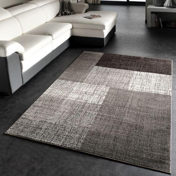Amazon.de: Designer Teppich Modern Kariert Kurzflor Design Meliert In Grau Creme Braun
