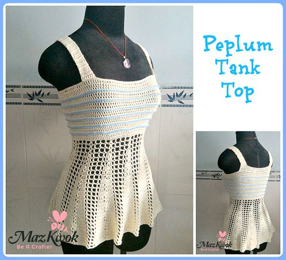 The flirty and flattering peplum crochet tank top in crochet version – ribbed and lacy texture.