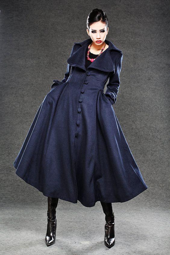 Navy Blue Cashmere Coat Women Wool Winter Coat Long by YL1dress