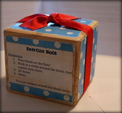 Exercise block gag gift just for fun pinterest for Fun secret santa gifts