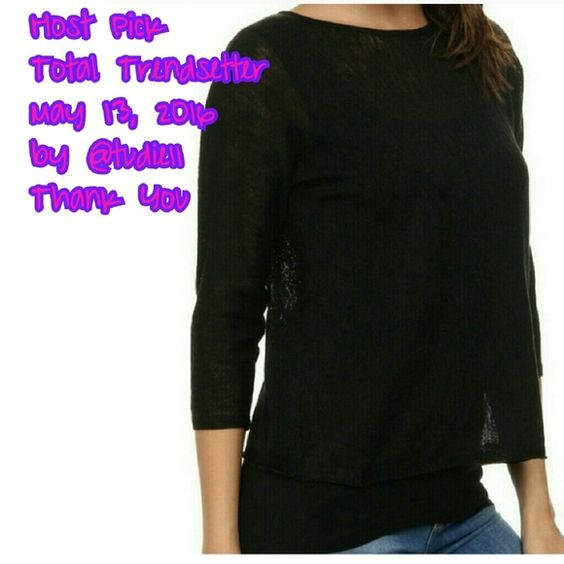 ??HP??Calvin Klein top This has a beautiful, sheer, shimmery top layer with a tank built in under. The tank is longer then the sheer layer to give it a layered look  Manufacturer: Calvin Klein Size: L  Color: Black Retail: $89.50 Condition: New with tags Style Type: Pullover Sweater Collection: Calvin Klein Sleeve Length: 3/4 Sleeve Bust Across: 22 Inches Neckline:Material: 54% Nylon/46% Acrylic Style Number: M4LS6711 Calvin Klein Tops