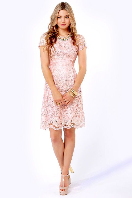 Genteel Breeze Backless Blush Pink Lace Dress  Dress lace Pink ...