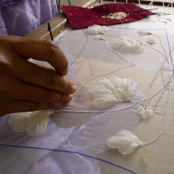 silk organza flower appliques: